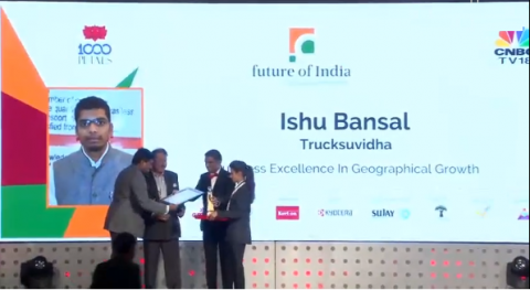 "Ishu Bansal, co-founder of TruckSuvidha awarded for the ""Business Excellence in Geographical Growth"" by Future of India."