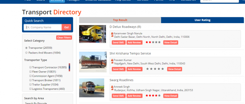 USE DIRECTORY OPTION WITH TRUCKSUVIDHA, WHICH WOULD GIVE USER A BRIEF VIEW OF ALL THE TRANSPORTERS REGISTERED WITH TRUCKSUVIDHA